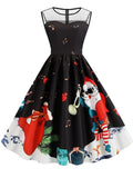 Christmas Mesh Stitching Print Vintage Dress