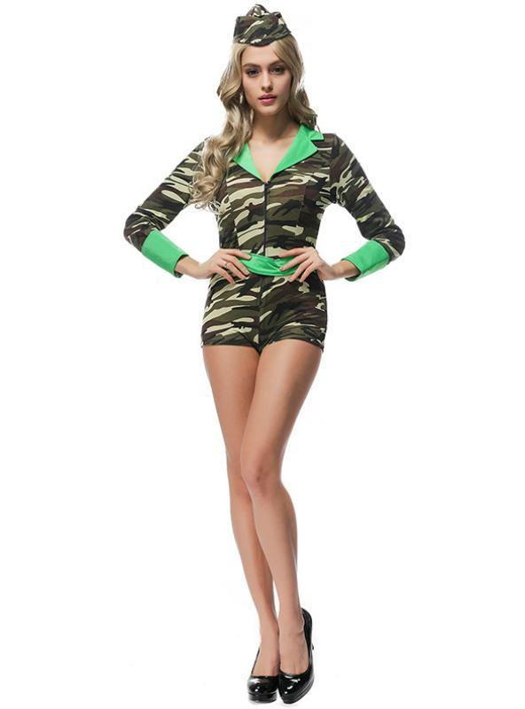 Camo Slim Fit Jumpers Halloween Female Instructor Cosplay