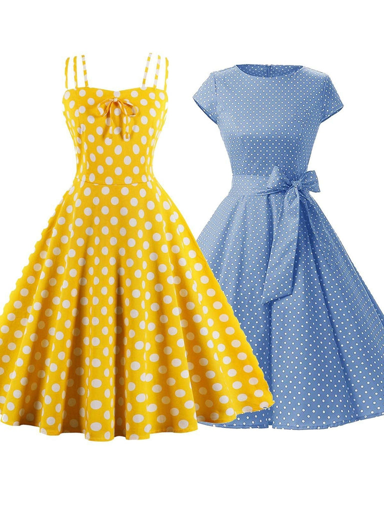 2PCS Top Seller Yellow & Blue Polka Dot 1950s Dresses
