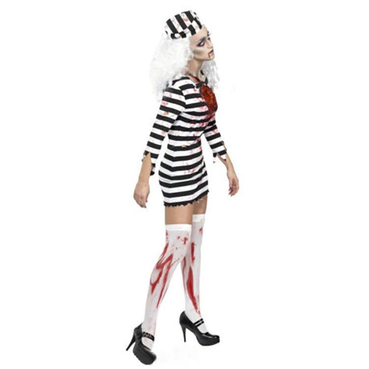 Adult Women Halloween Costumes Horror Bloody Prisoner Cosplay Costumes Devil Clothing Carnival Party Costume
