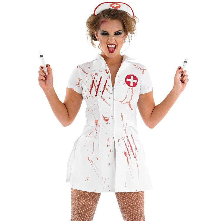 Halloween Costume for Women Horrible Bloody Doctor Nurse Cosplay Zombie Role Play Carnival Costume