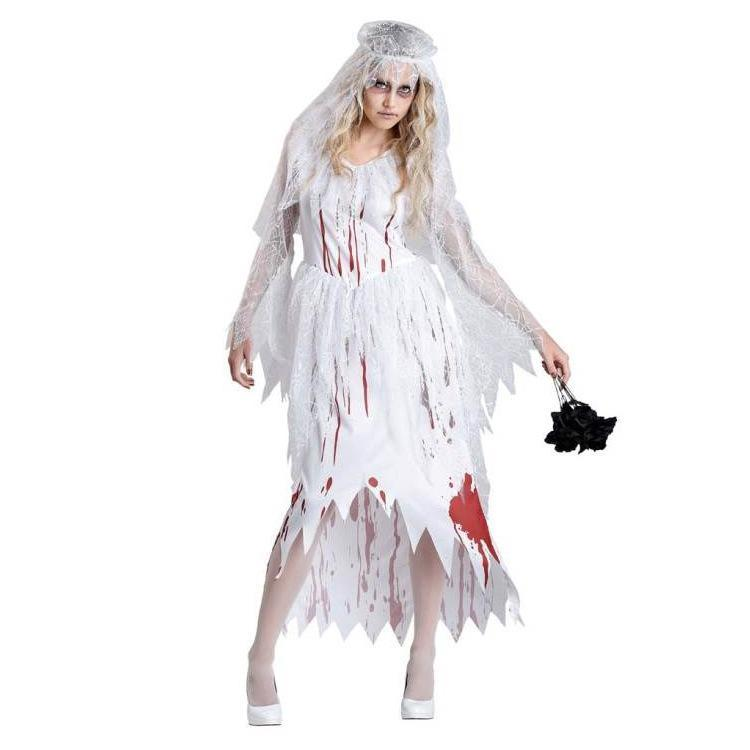 Women White Bloody Bride Costume Zombie Corpse Bride Cosplay Dress Scary Halloween Costume