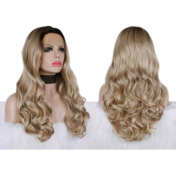 Ombre Blonde Body Wavy Glueless Synthetic Lace Front Wigs