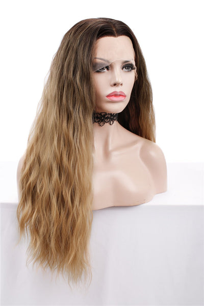 Ombre Brown Blonde Curly Lace Front Wigs Autumn-Winter