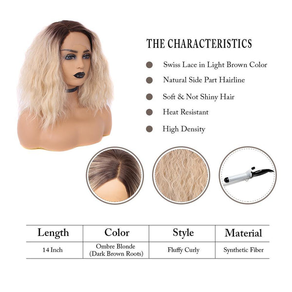 Pinkshow Dark Roots Strawberry Blonde Bob Wavy Synthetic Lace Front Wigs