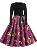 Halloween Pumpkin Print Casual Dress