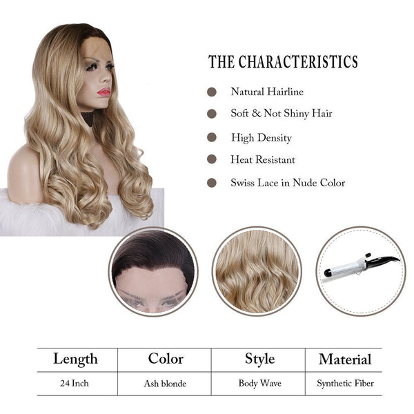 Long Ombre Blonde Body Wavy Glueless Synthetic Lace Front Wigs
