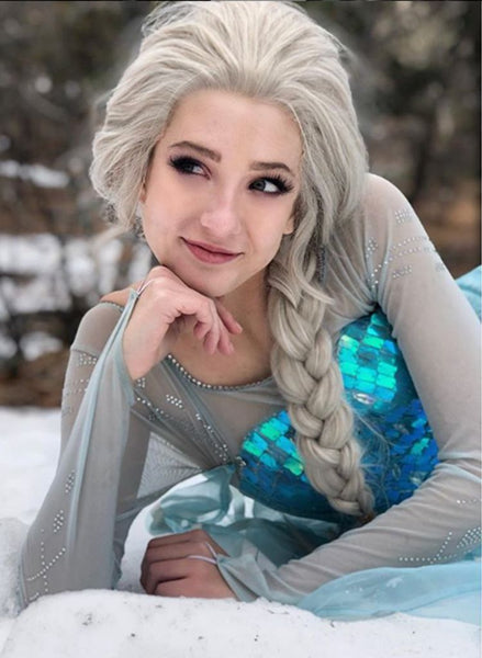 Princess Elsa Ash Blonde Synthetic Lace Front Wigs - Imstylewigs