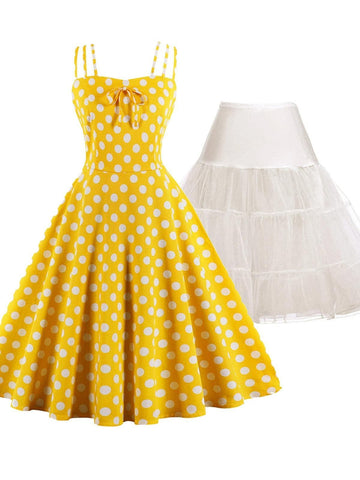 2PCS Top Seller Polka Dot 1950s Dress & White Petticoat