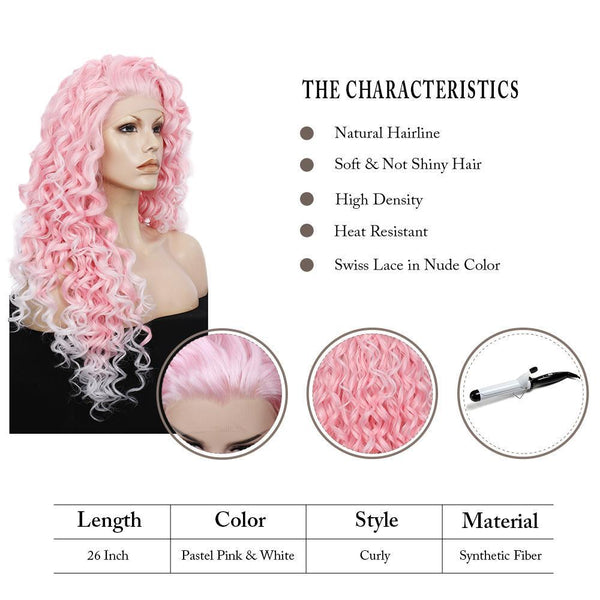 Imstyle Pink Mixed White Two Tone Color Curly Lace Front Synthetic Wig 26 inch