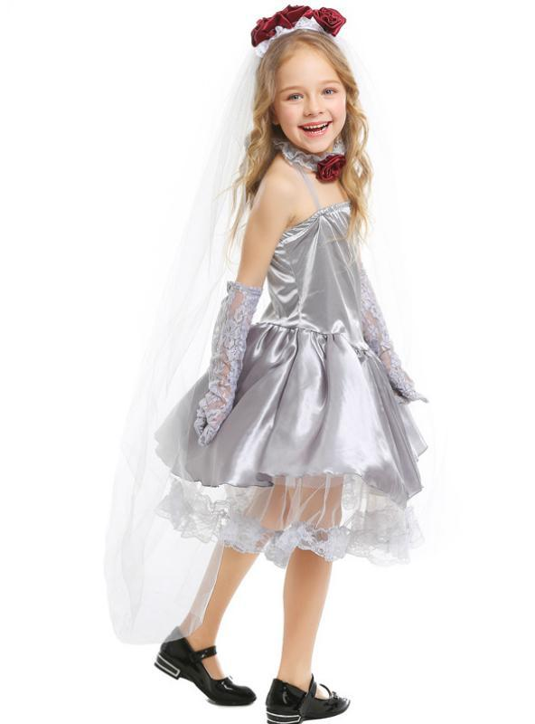 Children Cosplay Ghost Bride Silver Grey Dress