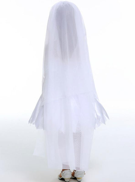 Children's Bride White Princess Dress Chest Wiped White