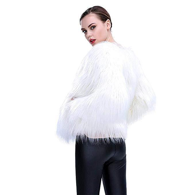 Women Faux Fur Outwear Winter Light Up Christmas LED Costume