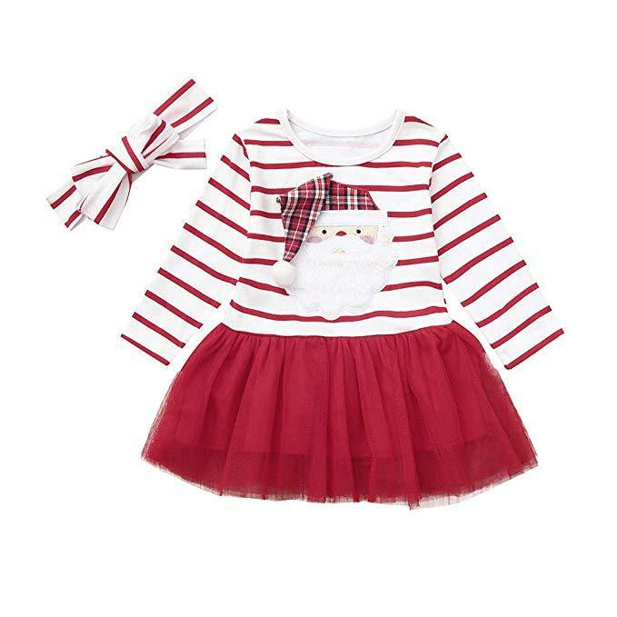 Kids Christmas Cute Cartoon Santa Claus Striped Tutu Dress