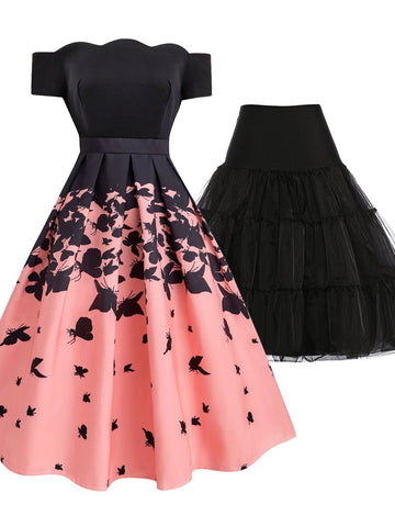 2PCS Top Seller 1950s Butterfly Dress & Black Petticoat