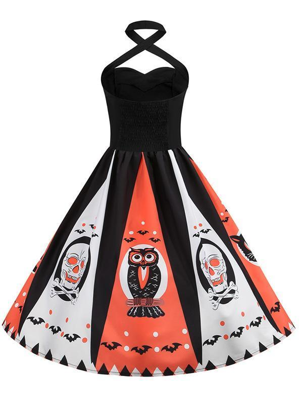 Halloween Hanging Neck Casual Print Dress