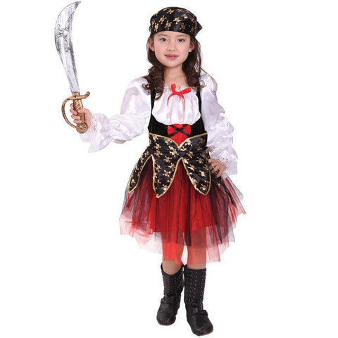 Adorable Little Girls Halloween Costume Party Cosplay Dress Caribbean Pirate Princess Outfit Dress