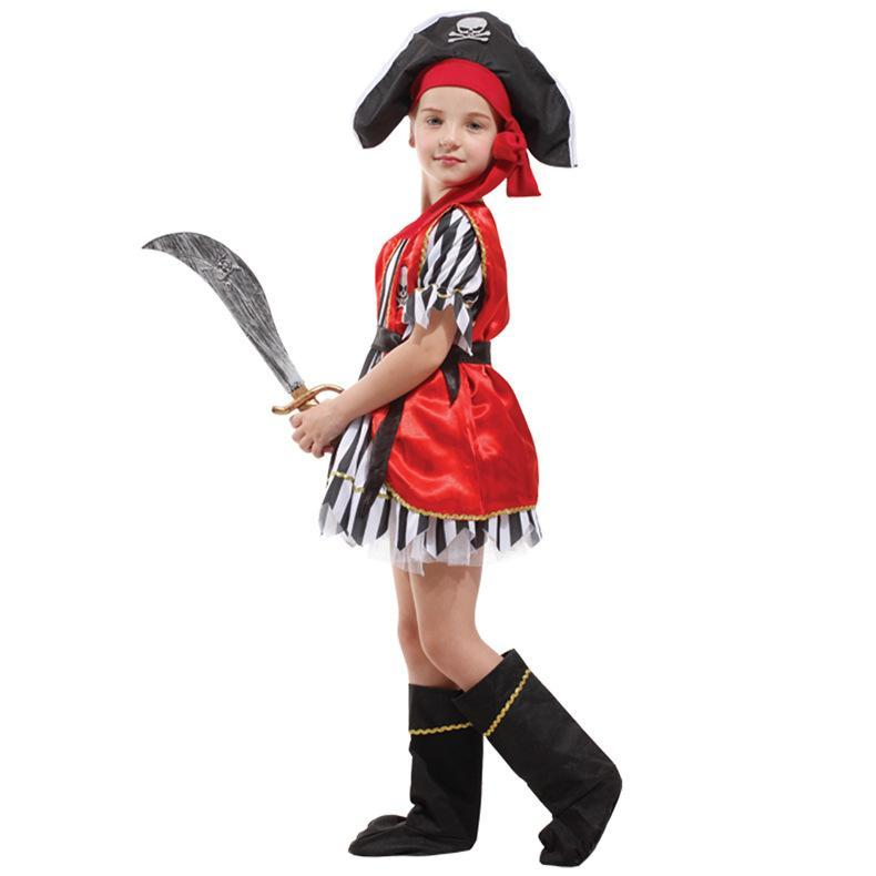 Kids Halloween Party Dress Up Costume Children Girls Pirate Dress Costume Full Set