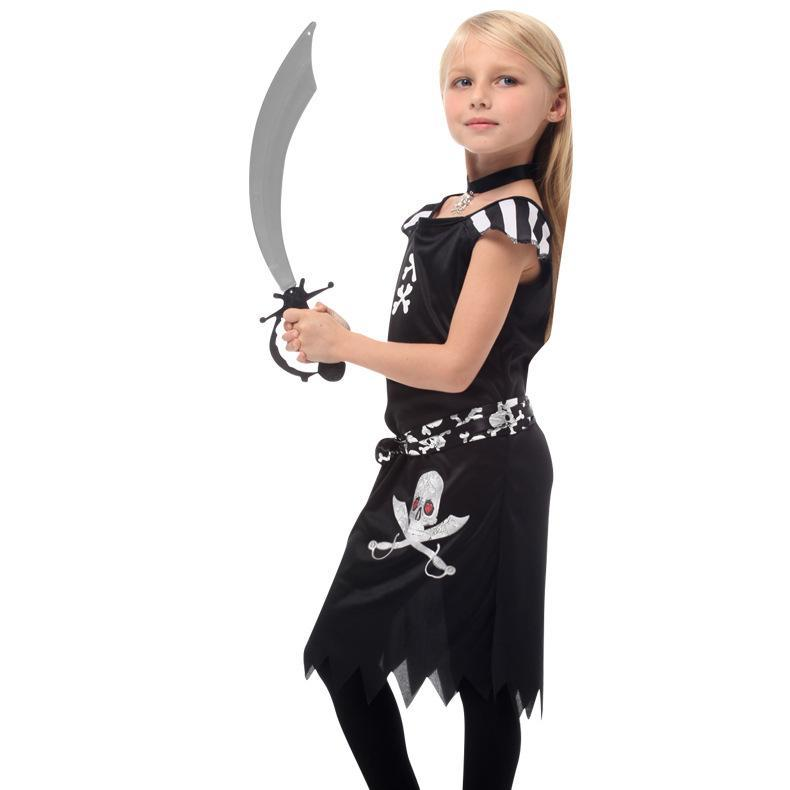 Kids Girls Black Gothic Punk Pirate Costume Halloween Purim Carnival New Year Party Costumes Dress Up