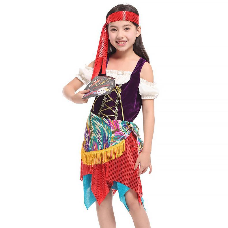 Kids Caribbean Pirate Costume Girls Pirate Dress Halloween Carnival Stage Performance Costume
