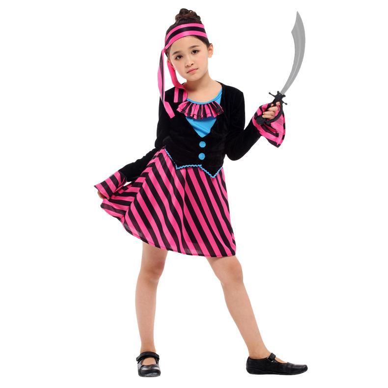 Girls Pirate Kids Halloween Costume Party Cosplay Outfit Dress