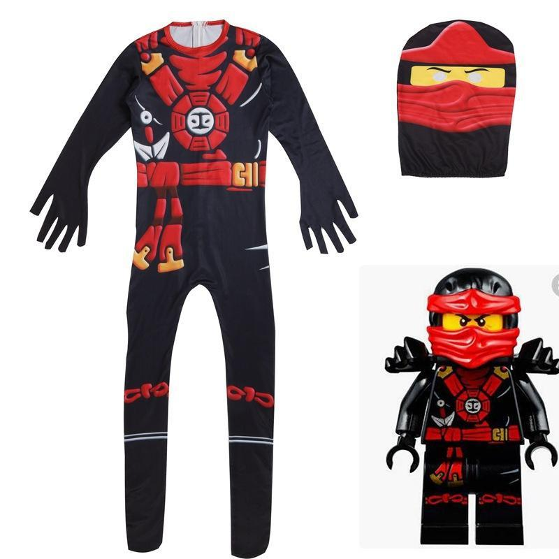 Kids Ninja Costume Toddler Boys Halloween Bodysuit Outfit Green Black