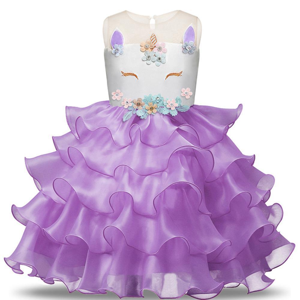 Baby Girl Unicorn Costume Pageant Flower Princess Party Dress