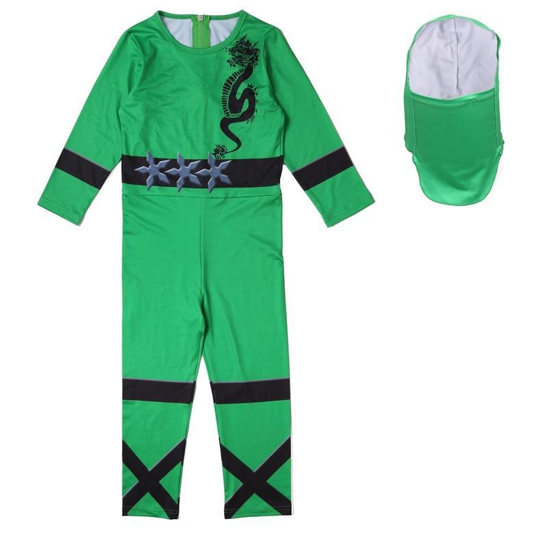 Kids Ninja Costume Boys Halloween Bodysuit Outfit Multiple Color