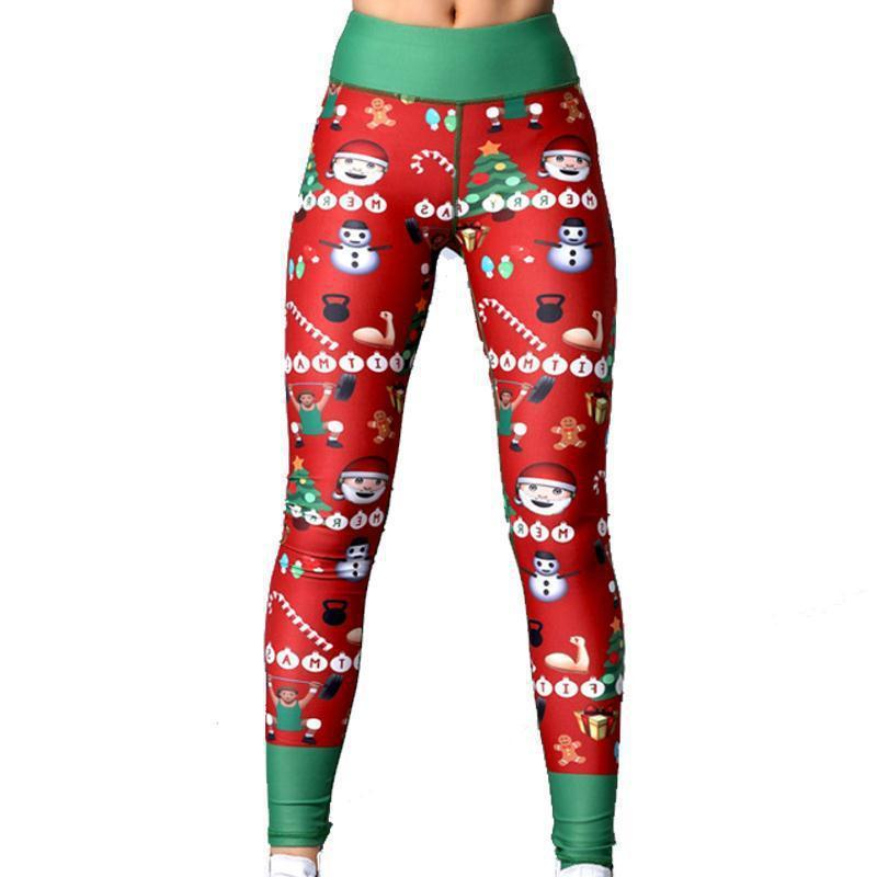 Women's Elastic Band Christmas Printed Yoga Footless Leggings Pants