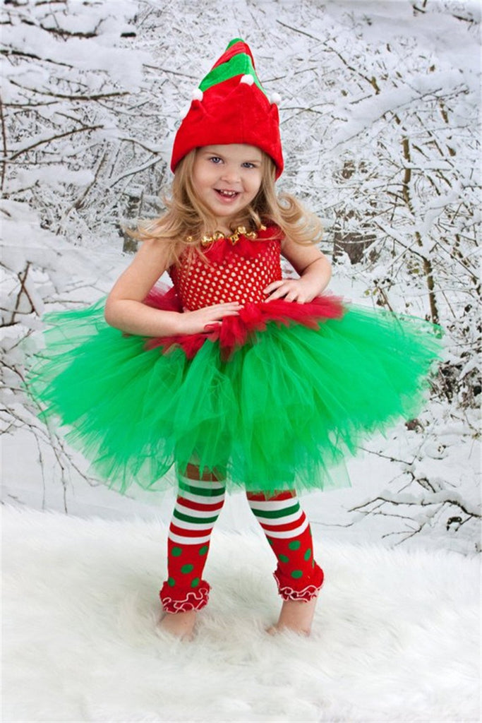 Girls Christmas Tutu Santa Claus Pattern Red Dresses