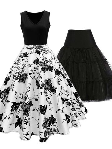 2PCS Top Seller 1950s Dress & Black Petticoat