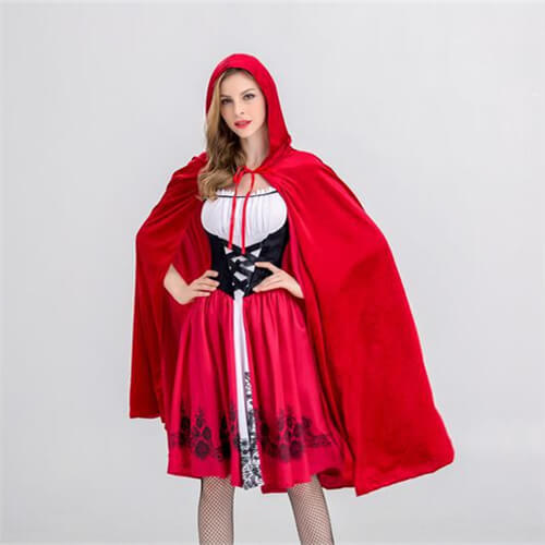 New Little Red Riding Hood Costume Queen Dress+Top