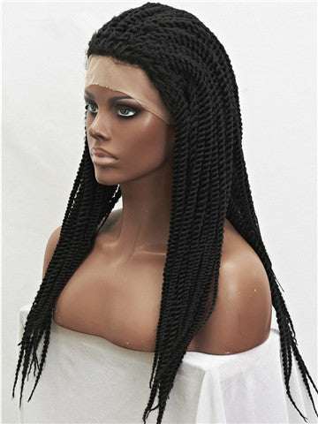 Long African Style Braids Jet Black Synthetic Lace Front Wig - FashionLoveHunter