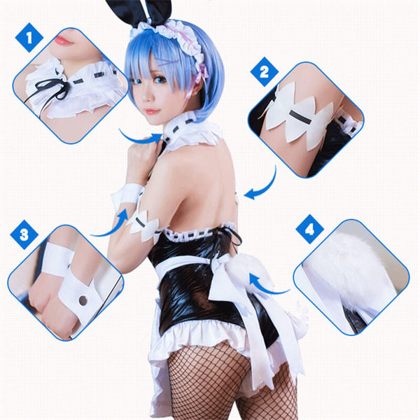 Anime Rem Bunny Rabbit Girl Cosplay Costume Maid Fress Full Set