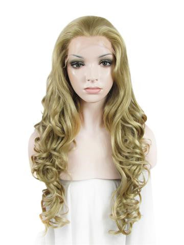 Long Ash Golden Body Wave Synthetic Lace Front Wig - FashionLoveHunter