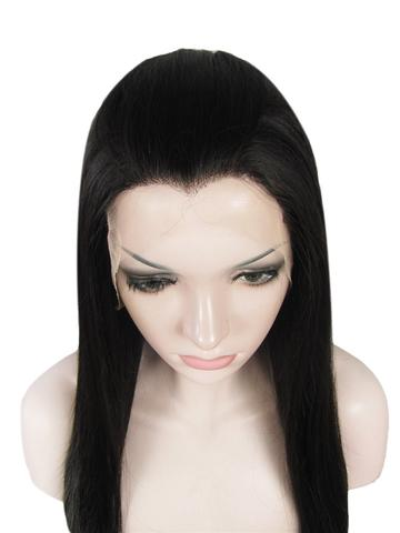 Long Jet Black Straight Synthetic Lace Front Wig - FashionLoveHunter