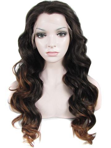 Long Black Ombre Brown Wavy Synthetic Lace Front Wig - FashionLoveHunter