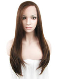Long Warm Honey Brown Synthetic Lace Front Wig - FashionLoveHunter