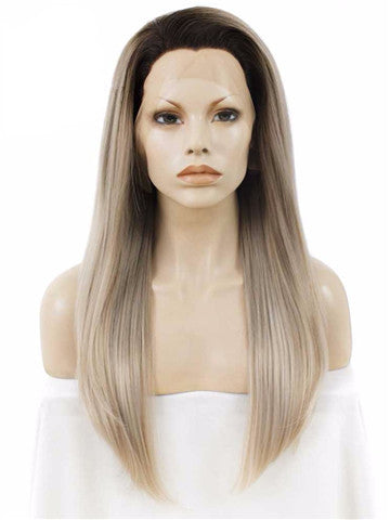 Dark Root To Light Ash Blonde Ombre Straight Long Synthetic Lace Front Wig - FashionLoveHunter
