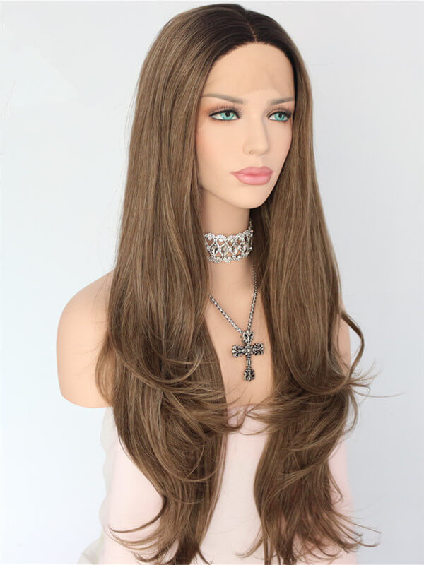 Long Dark Tan Brown Ombre Synthetic Lace Front Wig