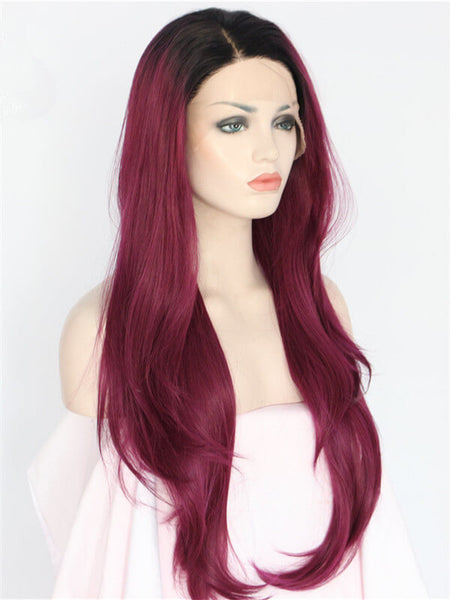 Long Auburn Diva Dark Red Ombre Wave Synthetic Lace Front Wig