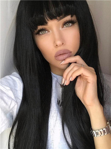 Long Black Straight Synthetic Lace Front Wig With Bang - FashionLoveHunter