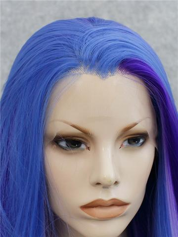 Long Blue Purple Mixed Magic Straight Synthetic Lace Front Wig - FashionLoveHunter