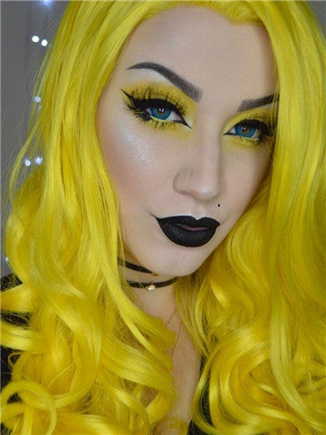 Bright Lemon Yellow Wave Long Synthetic Lace Front Wig - FashionLoveHunter