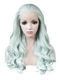 Bright Mint Green Long Wave Synthetic Lace Front Wig - FashionLoveHunter