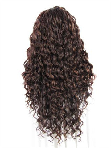 Chestnut Brown Mixed Ombre Curly Long Synthetic Lace Front Wig - FashionLoveHunter