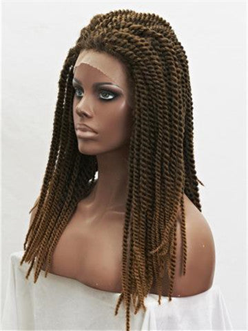 Brown Ombre Two Tones Braids Long Synthetic Lace Front Wig - FashionLoveHunter