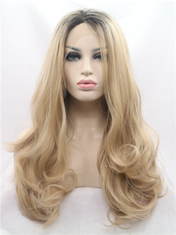 Long Caramel Delight Blonde Gold Ombre Wavy Synthetic Lace Front Wig - FashionLoveHunter