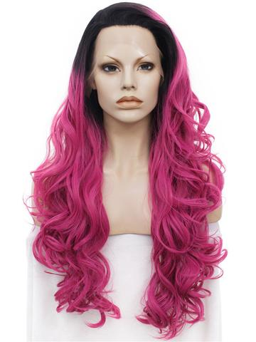 Charming Ombre Red Wave Long Synthetic Lace Front Wig - FashionLoveHunter