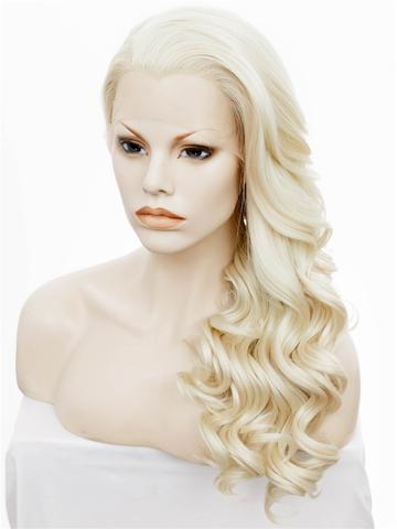 Christina Style Blonde Light Gold Wavy Long Synthetic Lace Front Wig - FashionLoveHunter